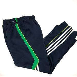Adidas CLIMALITE Navy Green White Striped Pants M